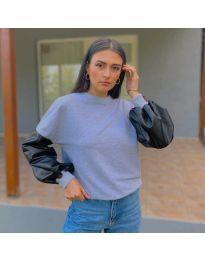 Атрактивна дамска блуза в сиво - код 5171