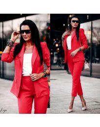 Дамски комплект от сако и панталон в червено - код 886