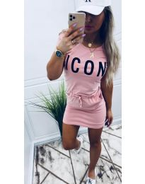 Свободна дамска рокля в розово - код 9905