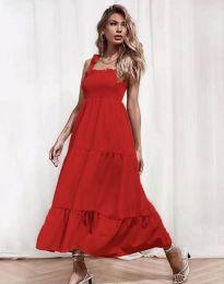 Ефирна дамска рокля в червено - код 1729