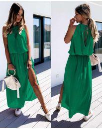Дълга дамска рокля в зелено - код 708