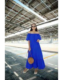 Дълга рокля в тъмно син цвят - код 3636