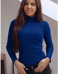 Блуза с поло яка в син цвят - код 3458