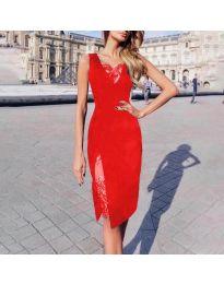 Елегантна рокля с дантела в червено - код 7412