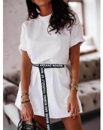 Изчистена дамска рокля в цвят бяло - код 809
