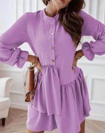 Атрактивна дамска рокля в светлолилаво - код 2829