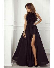 Дълга рокля в черно с голяма цепка - код 880