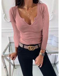 Изчистена дамска блуза в цвят пудра - код 875