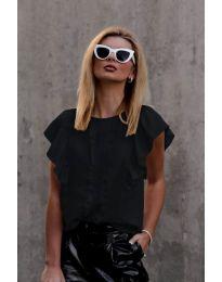 Тениска с волани в черен цвят - код 254
