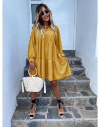 Свободна дамска рокля в цвят горчица  - код 6643