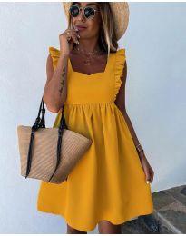 Стилна рокля в цвят горчица - код 818