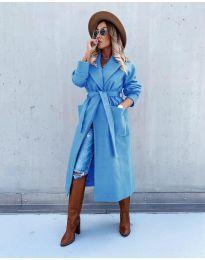 Дълго дамско палто в синьо - код 5877