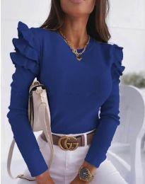 Дамска блуза в тъмносиньо с къдрички - код 1653