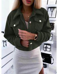 Дамско късо палто  в маслено зелено  - код 9495