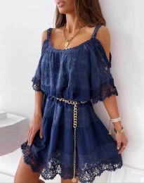 Атрактивна рокля в тъмносиньо с дантела - код 6954
