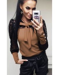 Елегантна блуза в кафяво - код 7262