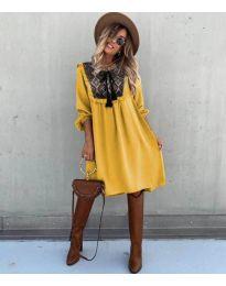 Свободна атрактивна рокля в цвят горчица - код 958