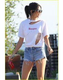 Свободна дамска тениска в бяло - код  3678