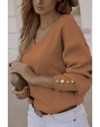 Елегантна дамска блуза в кафяво - код 812