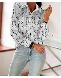 Бяла риза с дълги ръкави и фигурален десен - код 653