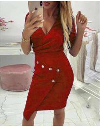 Ефектна рокля с капси в червено - код 415