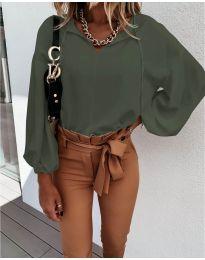 Дамска риза в маслено зелено - код 924