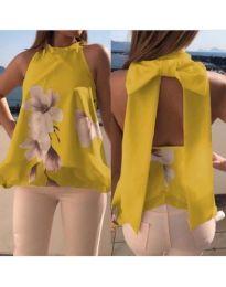 Жълт дамски топ с пандела при гърба - код 632
