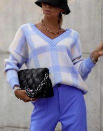 Ефектна дамска блуза в синьо - код 8927