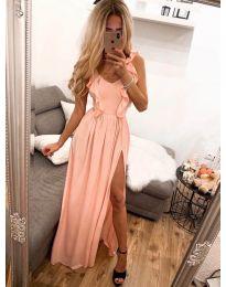 Елегантна рокля в праскова - код 673