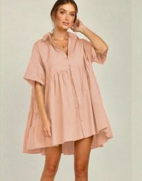 Свободна рокля цвят пудра - код 6464