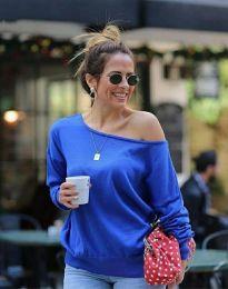 Ефектна дамска блуза в синьо - код 7067
