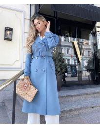 Дамско палто с колан в светло синьо - код 213
