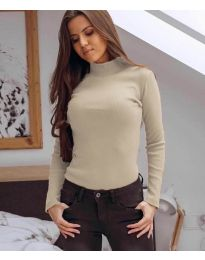 Дамска блуза с поло яка в бежово - код 6323