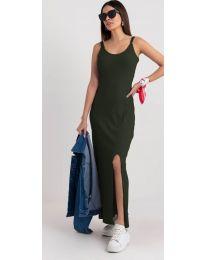 Дълга рокля с цепка в маслено зелено - код 3000