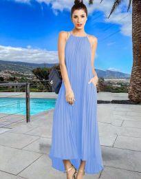 Дълга лятна рокля в светлосиньо - код 6999