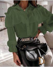 Кокетна дамска риза в зелено - код 2433