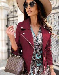 Елегантно дамско яке в цвят бордо - код 6354