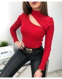 Атрактивна дамска блуза в червено - код 6363