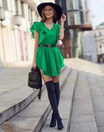 Ефирна къса рокля в зелено - код 6852