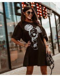Свободна рокля в черно с принт - код 3352