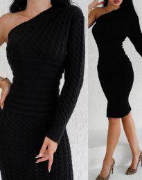 Дамска рокля в черно с един ръкав - код 2588