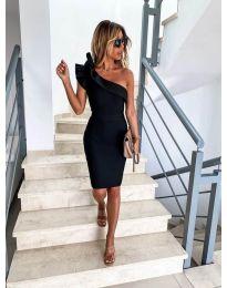 Елегантна рокля в черно с голо рамо - код 710