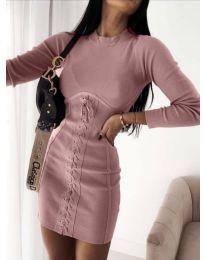Елегантна дамска рокля в цвят пудра - код 4453
