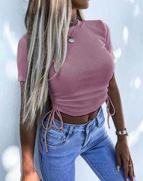 Къса дамска тениска в цвят пудра - код 2425