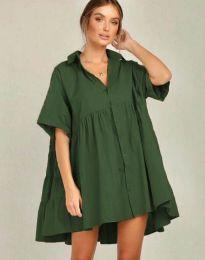 Свободна рокля в масленозелено - код 6464