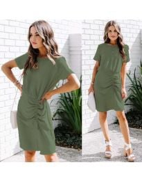 Изчистена рокля в цвят маслено зелено - код 835