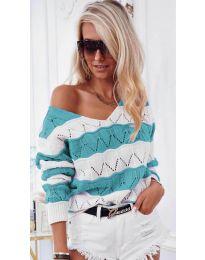 Дамска блуза в цвят тюркоаз - код 8689