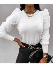 Дамска блуза в бяло с ефектни ръкави - код 4245