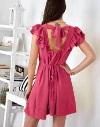 Дамска рокля в цвят циклама с къдрички - код 7111
