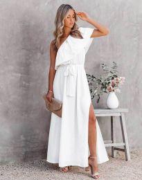 Атрактивна дълга рокля в бяло - код 33511